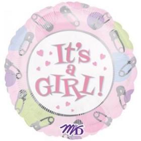 ΜΠΑΛΟΝΙ FOIL 45cm ΓΙΑ ΓΕΝΝΗΣΗ «It's a Girl» ΜΕ ΠΑΡΑΜΑΝΕΣ – ΚΩΔ.:509887-BB