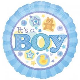 ΜΠΑΛΟΝΙ FOIL 45cm ΓΙΑ ΓΕΝΝΗΣΗ «It's a Boy» ΜΕ ΑΡΚΟΥΔΑΚΙ ΚΑΙ ΠΑΠΑΚΙ – ΚΩΔ.:515820-BB