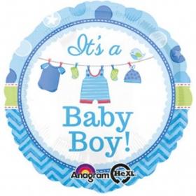 ΜΠΑΛΟΝΙ FOIL 45cm ΓΙΑ ΓΕΝΝΗΣΗ «It's a Baby boy» – ΚΩΔ.:530910-BB