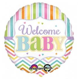 ΜΠΑΛΟΝΙ FOIL 45cm ΓΙΑ ΓΕΝΝΗΣΗ «Welcome Baby» ΠΟΛΥΧΡΩΜΟ – ΚΩΔ.:530915-BB