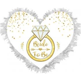 ΧΕΙΡΟΠΟΙΗΤΗ ΠΙΝΙΑΤΑ ΚΑΡΔΙΑ ''BRIDE TO BE'' 40X40CM - ΚΩΔ:553153-6-BB