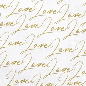 ΧΑΡΤΟΠΕΤΣΕΤΕΣ ΣΕ ΧΡΩΜΑ ΛΕΥΚΟ ΜΕ ΧΡΥΣΟ ''LOVE'' - ΚΩΔ:SP33-51-008-BB