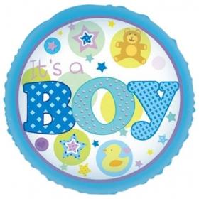 ΜΠΑΛΟΝΙ FOIL 45cm ΓΙΑ ΓΕΝΝΗΣΗ «It's a Boy» ΜΕ ΑΡΚΟΥΔΑΚΙ ΚΑΙ ΠΑΠΙΑ – ΚΩΔ.:206243-BB