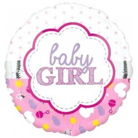 ΜΠΑΛΟΝΙ FOIL 45cm ΓΙΑ ΓΕΝΝΗΣΗ «Baby Girl» SCALLOP – ΚΩΔ.:207140-BB