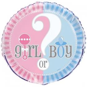 ΜΠΑΛΟΝΙ FOIL 45cm ΓΙΑ ΓΕΝΝΗΣΗ «Girl or Boy» – ΚΩΔ.:207150-BB