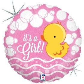 ΜΠΑΛΟΝΙ ΙΡΙΔΙΖΟΝ FOIL 45cm ΓΙΑ ΓΕΝΝΗΣΗ «It's a Girl» ΜΕ ΠΑΠΑΚΙ  – ΚΩΔ.:36042-BB