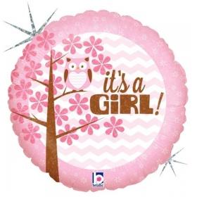 ΜΠΑΛΟΝΙ ΙΡΙΔΙΖΟΝ FOIL 45cm ΓΙΑ ΓΕΝΝΗΣΗ «It's a Girl» ΜΕ ΚΟΥΚΟΥΒΑΓΙΑ – ΚΩΔ.:36156-BB