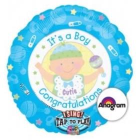 ΜΠΑΛΟΝΙ FOIL 71cm ΓΙΑ ΓΕΝΝΗΣΗ ΜΟΥΣΙΚΟ  «It's a Boy Congratulations» – ΚΩΔ.:512906-BB