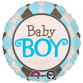 ΜΠΑΛΟΝΙ FOIL 81cm ΓΙΑ ΓΕΝΝΗΣΗ ARGYLE «Baby Boy» – ΚΩΔ.:526891-BB