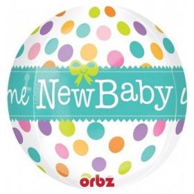 ΜΠΑΛΟΝΙ FOIL 43x45cm ΓΙΑ ΓΕΝΝΗΣΗ SUPERSHAPE «Welcome New Baby» ORBZ – ΚΩΔ.:528371-BB