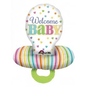 ΜΠΑΛΟΝΙ FOIL 55x73cm ΓΙΑ ΓΕΝΝΗΣΗ SUPERSHAPE «Welcome Baby» ΠΙΠΙΛΑ – ΚΩΔ.:530952-BB