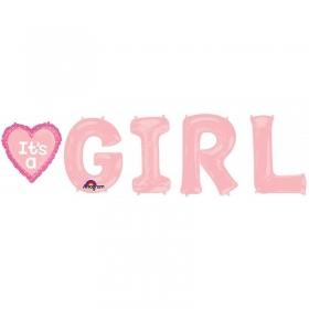 ΜΠΑΛΟΝΙ FOIL ΓΙΑ ΓΕΝΝΗΣΗ SUPERSHAPE «It's a Girl» – ΚΩΔ.:530955-BB
