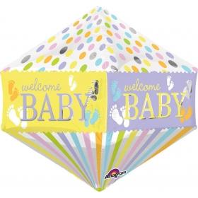 ΜΠΑΛΟΝΙ FOIL 43x53cm ΓΙΑ ΓΕΝΝΗΣΗ SUPERSHAPE «Welcome Baby» ΠΑΤΟΥΣΑΚΙΑ – ΚΩΔ.:532248-BB