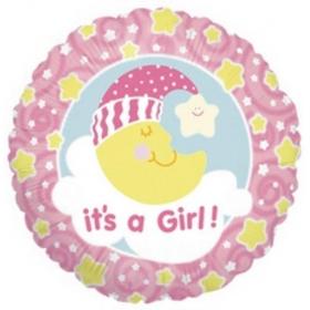 ΜΠΑΛΟΝΙ FOIL 45cm ΓΙΑ ΓΕΝΝΗΣΗ «It's a Girl» ΜΕ ΦΕΓΚΑΡΑΚΙ ΠΟΥ ΚΟΙΜΑΤΑΙ – ΚΩΔ.:86045-BB