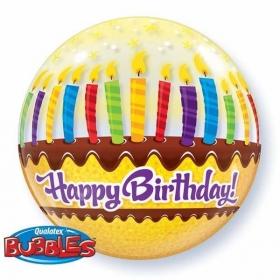 """ΜΠΑΛΟΝΙ FOIL 22""""(56cm) ΤΟΥΡΤΑ «Happy Birthday» Bubble ΜΟΝΟ – ΚΩΔ.:10398-BB"""