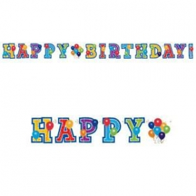 ΧΑΡΤΙΝΟ BANNER 'HAPPY BIRTHDAY' ΜΕ ΜΠΑΛΟΝΙΑ ΚΑΙ ΑΣΤΕΡΙΑ - ΚΩΔ:129780-BB