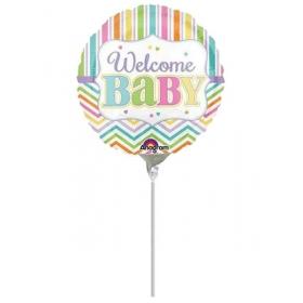 ΜΠΑΛΟΝΙ FOIL MINI SHAPE 9''(23cm) «Welcome Baby» ΠΟΛΥΧΡΩΜΟ  – ΚΩΔ.:531939-BB