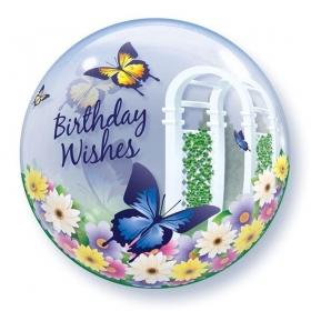"""ΜΠΑΛΟΝΙ FOIL 22""""(56cm) ΠΕΤΑΛΟΥΔΕΣ «Birthday Wishes» Bubble ΜΟΝΟ – ΚΩΔ.:68648-BB"""