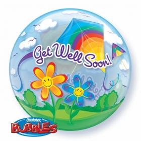 """ΜΠΑΛΟΝΙ FOIL 22""""(56cm) ΧΑΡΤΑΕΤΟΙ «Get Well Soon» Bubble ΜΟΝΟ – ΚΩΔ.:68654-BB"""