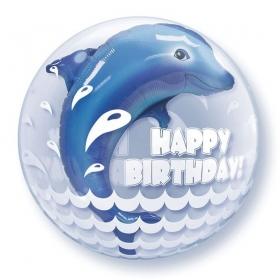 """ΜΠΑΛΟΝΙ FOIL 24""""(61cm) ΔΕΛΦΙΝΙ «Happy Birthday» Bubble ΔΙΠΛΟ – ΚΩΔ.:68803-BB"""