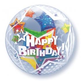 """ΜΠΑΛΟΝΙ FOIL 24""""(61cm) ΑΣΤΕΡΙΑ «Happy Birthday» Bubble ΔΙΠΛΟ – ΚΩΔ.:68804-BB"""
