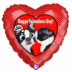 ΜΠΑΛΟΝΙ FOIL 50x54cm SUPER SHAPE ΚΑΡΔΙΑ «Happy Valentine's Day» ΠΟΥΑ ΜΕ ΚΟΥΤΑΒΑΚΙΑ - ΚΩΔ.:14023-BB