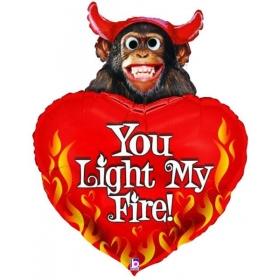 ΜΠΑΛΟΝΙ FOIL 100cm SUPER SHAPE ΜΑΙΜΟΥ ΑΡΚΟΥΔΑΚΙ ΜΕ ΚΑΡΔΙΑ «Light My Fire» - ΚΩΔ.:14151-BB