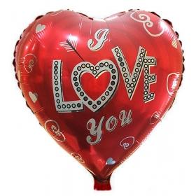 ΜΠΑΛΟΝΙ FOIL 18''(46cm) ΚΟΚΚΙΝΗ ΚΑΡΔΙΑ «Love You» ΒΕΛΟΣ ΚΑΙ ΚΑΡΔΙΕΣ  – ΚΩΔ.:206248-BB