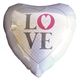 ΜΠΑΛΟΝΙ FOIL 18''(46cm)  ΑΣΠΡΗ ΚΑΡΔΙΑ 'Love' – ΚΩΔ.:206280-BB