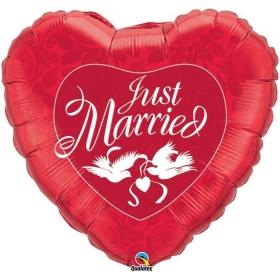 ΜΠΑΛΟΝΙ FOIL 91cm ΚΟΚΚΙΝΗ ΚΑΡΔΙΑ «Just Married» - ΚΩΔ.:32344-BB