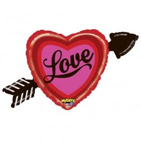 ΜΠΑΛΟΝΙ FOIL 91cm SUPER SHΑPE ΚΑΡΔΙΑ ΜΕ ΒΕΛΟΣ «Love» - ΚΩΔ.:35215WE-BB