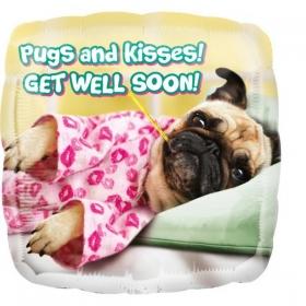 ΜΠΑΛΟΝΙ FOIL 45cm «Pugs and Kisses Get Well Soon»– ΚΩΔ.:536592-BB