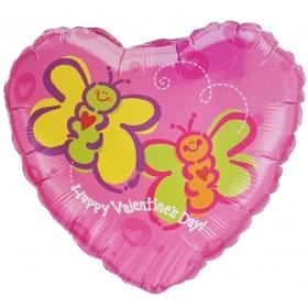 ΜΠΑΛΟΝΙ FOIL 45cm ΚΑΡΔΙΑ «Happy Valentine's Day» ΜΕ ΠΕΤΑΛΟΥΔΕΣ - ΚΩΔ.:62631-BB