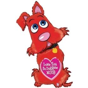 ΜΠΑΛΟΝΙ FOIL 55x112cm SUPER SHAPE ΚΟΚΚΙΝΟ ΣΚΥΛΑΚΙ  «Love You So Doggone Much» - ΚΩΔ.:85533-BB
