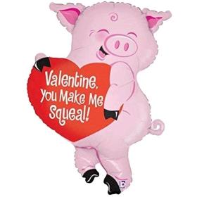 ΜΠΑΛΟΝΙ FOIL 63x85cm SUPER SHAPE ΓΟΥΡΟΥΝΑΚΙ ΜΕ ΚΑΡΔΙΑ «You Make Me Squeal» - ΚΩΔ.:85534-BB