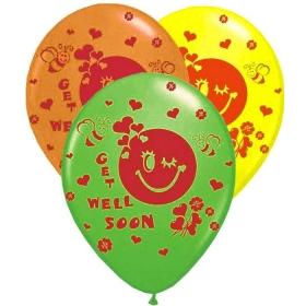 """ΤΥΠΩΜΕΝΑ ΜΠΑΛΟΝΙΑ LATEX «Get Well Soon» ΣΕ 3 ΧΡΩΜΑΤΑ 12"""" (30cm) – ΚΩΔ.:13512404-BB"""