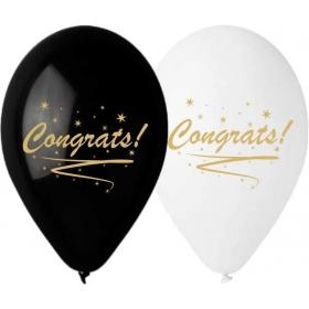 """ΤΥΠΩΜΕΝΑ ΜΠΑΛΟΝΙΑ LATEX «Congrats» ΣΕ ΛΕΥΚΑ-ΜΑΥΡΑ  13"""" (33cm) – ΚΩΔ.:13613267-BB"""