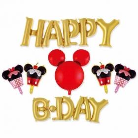 ΜΠΑΛΟΝΙ FOIL ΣΕΤ «Happy Birthday» ΧΡΥΣΟ MICKEY MOUSE  – ΚΩΔ.:207173-BB