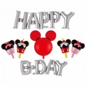 ΜΠΑΛΟΝΙ FOIL ΣΕΤ «Happy Birthday» ΑΣΗΜΕΝΙΟ MICKEY MOUSE  – ΚΩΔ.:207174-BB
