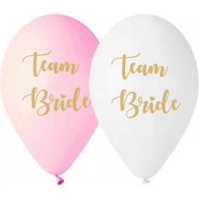 ΜΠΑΛΟΝΙ LATEX ΤΥΠΩΜΕΝΟ  «TEAM BRIDE» ΛΕΥΚΟ ΚΑΙ BABY ΡΟΖ 13'' – ΚΩΔ.:13613261-BB