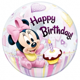 "ΜΠΑΛΟΝΙ FOIL 22""(56cm) MINNIE MOUSE «1st Birthday» Bubble ΜΟΝΟ – ΚΩΔ.:12862-BB"