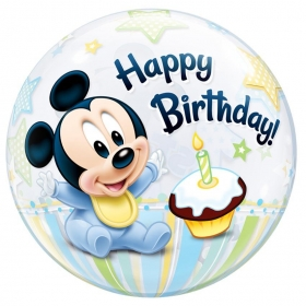 "ΜΠΑΛΟΝΙ FOIL 22""(56cm) MICKEY MOUSE «1st Birthday» Bubble ΜΟΝΟ – ΚΩΔ.:12864-BB"