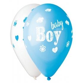 """ΤΥΠΩΜΕΝΑ ΜΠΑΛΟΝΙΑ LATEX BABY BOY ΓΑΛΑΖΙΟ-ΑΣΠΡΟ 13"""" (33cm) – ΚΩΔ.:13613302-BB"""