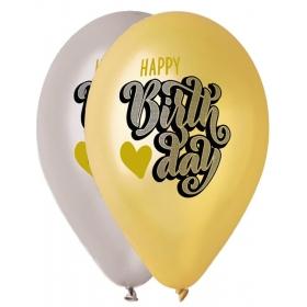 """ΤΥΠΩΜΕΝΑ ΜΠΑΛΟΝΙΑ LATEX HAPPY BIRTHDAY ΣΕ ΧΡΥΣΟ-ΑΣΗΜΙ 13"""" (33cm) – ΚΩΔ.:13613307-BB"""