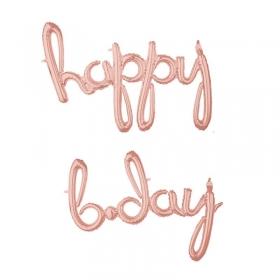 ΜΠΑΛΟΝΙ FOIL ΓΕΝΕΘΛΙΩΝ SUPERSHAPE «Happy B-day» ΡΟΖ-ΧΡΥΣΟ 99x68cm ΚΑΙ 93x68cm – ΚΩΔ.:539157-BB