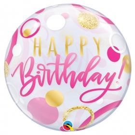 """ΜΠΑΛΟΝΙ FOIL 22""""(56cm) «Happy Birthday» ΡΟΖ ΚΑΙ ΧΡΥΣΟ Bubble ΜΟΝΟ – ΚΩΔ.:87745-BB"""