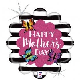 ΜΠΑΛΟΝΙ FOIL 45cm ΛΑΜΠΕΡΟ ΛΟΥΛΟΥΔΙ «Happy Mother's Day» – ΚΩΔ.:36777-BB