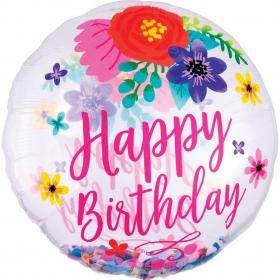 """ΜΠΑΛΟΝΙ FOIL 28""""(71cm) ΟΡΒΖ HAPPY BIRTHDAY FLORAL – ΚΩΔ.:539151-BB"""