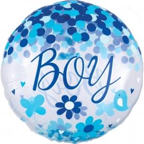 """ΜΠΑΛΟΝΙ FOIL 28""""(71cm) ΟΡΒΖ BABY BOY ΜΕ ΚΟΝΦΕΤΙ – ΚΩΔ.:539318-BB"""
