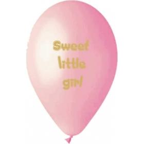 ΡΟΖ ΤΥΠΩΜΕΝΑ ΜΠΑΛΟΝΙΑ 13'' (33cm) LATEX «Sweet Little Girl» – ΚΩΔ.:13613294-BB